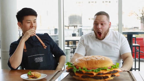 小伙特制生日汉堡!一个就够10人吃,看到成品直接吓懵