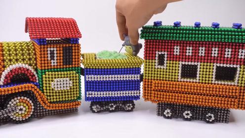 教萌娃小可爱用磁力巴克球制作小火车,精致又好玩!