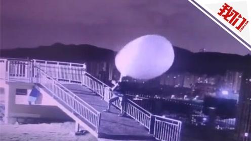 实拍:台风登陆前施放探空气球 工作人员死拽气球险被吹飞