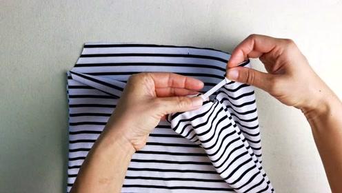 T恤小了不要扔,在领口下方剪一刀改一下,没想到可以这么用