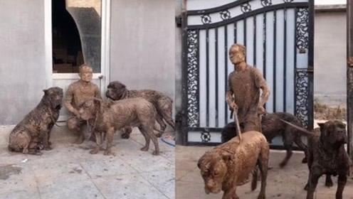 """男子溜3大狗被拖进泥坑 回家变成""""兵马俑"""""""