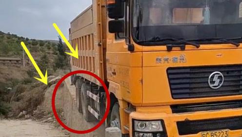 货车司机厉害了,看着都害怕的路,他一脚油门过来了!