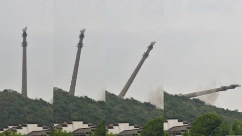 一声巨响,安徽长江边高113米输电塔轰然倒塌,竖立山顶60年