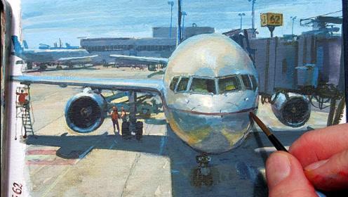 牛人是怎么打发候机时间的?用水粉绘制窗前的飞机,太好看了!