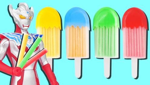 泰迦奥特曼吃草莓味雪糕吸管糖食玩!帮助面包超人找回发射器!