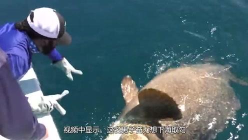 男子钓鱼遇石斑鱼 下海取勾时竟遭其疯狂反击