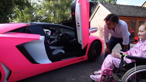 绝症女童梦想坐上粉色豪车,土豪花30万为其圆梦,场面十分暖心