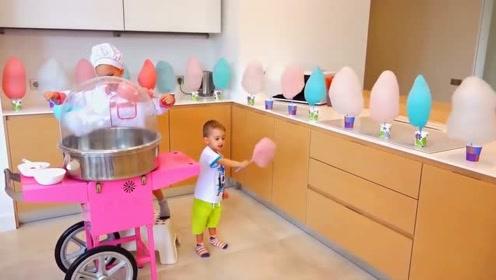 萌娃:哥哥给我做了美味的棉花糖,宝宝可开心了!