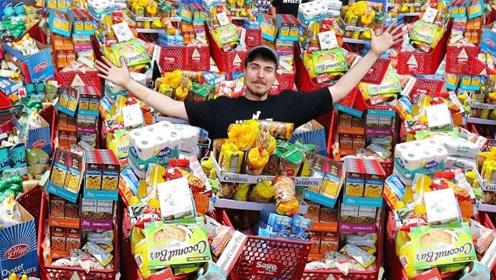 将一家超市搬空,需要多少钱?老外带兄弟扫荡超市,结果超乎想象