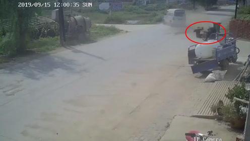 拖拉机被撞首尾分离 司机跌坐在地笑蒙众网友