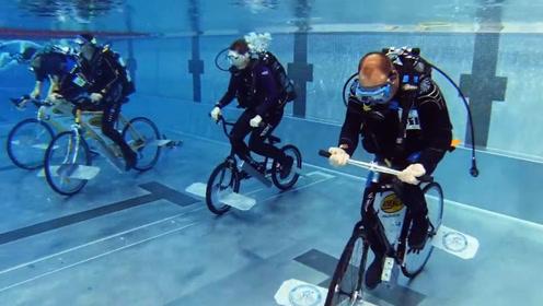 """作死老外举行""""水下""""自行车比赛,不慎发生意外,镜头记录全过程"""