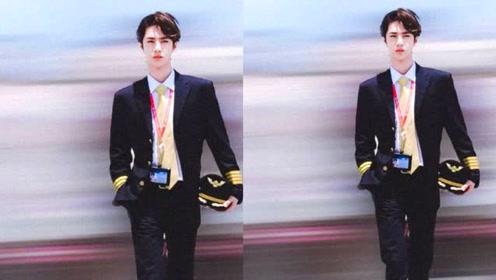 王一博穿制服戴墨镜登飞机 身形修长举止干练秒变帅气机长