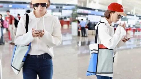 王珞丹戴小红帽走机场,卫衣搭牛仔裤休闲减龄,短发造型飒爽利落