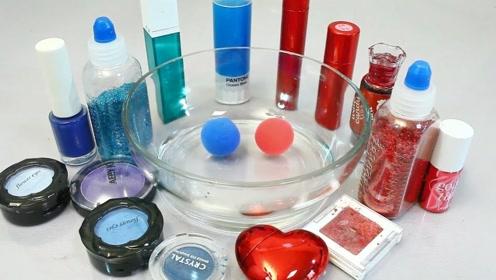 双色化妆品+超清黏土声控球,自制无硼砂史莱姆,超级有趣