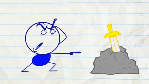 小伙想要得到插在石堆里的剑,不料却拔不出来,他该怎么办呢?