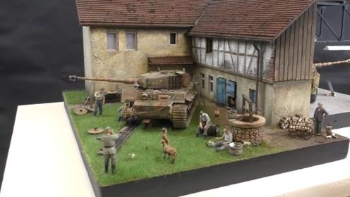 二战士兵修理坦克模型,农场房屋十分逼真应景,太赞了!