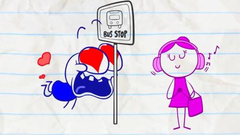 铅笔人走路偷看美女,一头撞在电线杆上,还立马去给美女买礼物!