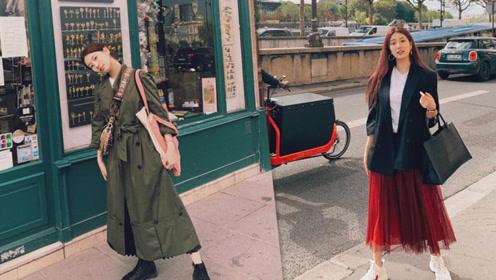 秀智分享游巴黎美照 穿墨绿色连衣裙妆容精致显优雅气质