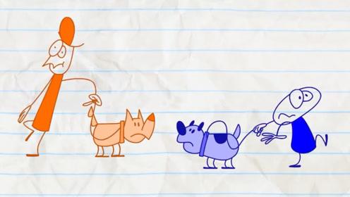 铅笔人遛狗偶遇狗友,不料2只狗打了起来,结局却来个大反转!