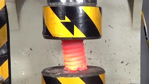 100吨的液压机能压碎弹簧吗?结果很意外哦