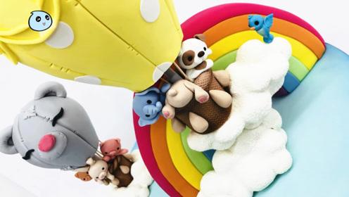 """免费教程:手把手教你做""""彩虹蛋糕"""",配上热气球更美味诱人了!"""