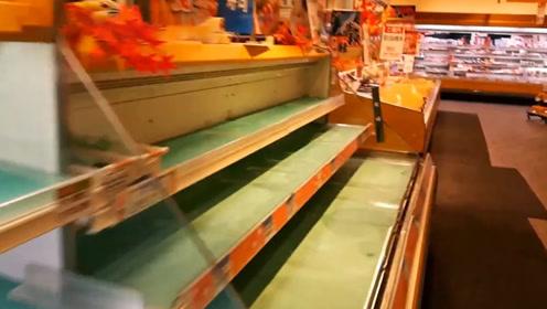 台风海贝思登陆日本 超市面包、矿泉水被一抢而空