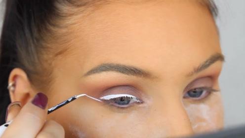 新奇的白色眼线,涂上一点就是全班焦点