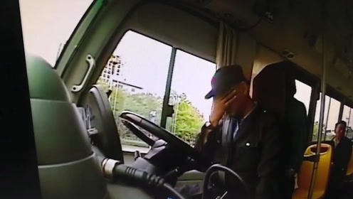 监控还原!公交司机昏迷前把车停稳,救了一车人