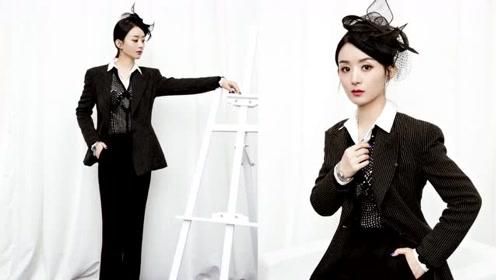 赵丽颖渔网头饰造型优雅时尚 波点西装全黑LOOK霸气十足