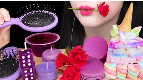 萌妹享用紫色系美食,高颜值太吸睛,紫色蛋糕要变身独角兽吗?