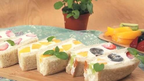 大叔教你做韩式水果三明治,最简单的撩妹甜点就是这了