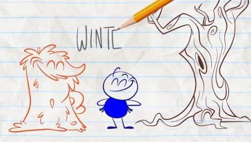 铅笔人和一堆树叶做好朋友,春季一到树叶就死了,铅笔人伤心极了!