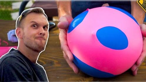 小哥自制巨大压力球,当它从高空砸到地面瞬间,太解压了!
