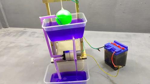 科学小发明,制作自动抽水器非常有创意小孩子在家可以学着做
