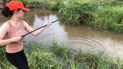 农村女孩野外钓鱼,大鱼上钩了,这鱼竿都断了,看看这鱼有多大