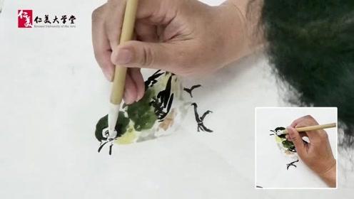 【写意绣眼鸟画法】南开大学张永敬教授范画演示 经典高校教程不可错过