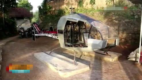 段子成真!霸气男子为躲避交通拥堵花一年时间造8米长直升机