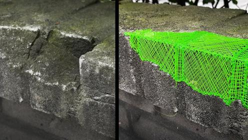 路边的墙面坏了,小伙用3D打印笔修复,太好玩了!