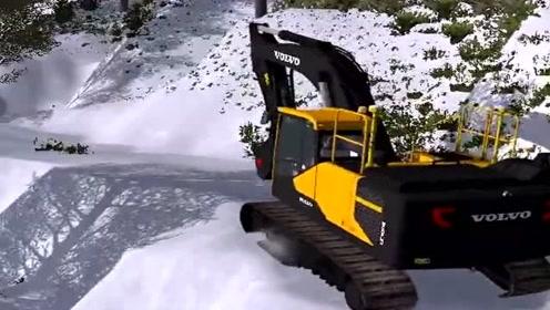 模拟驾驶:模拟驾驶挖掘机雪天上路,场景太逼真了,一般人开不了!