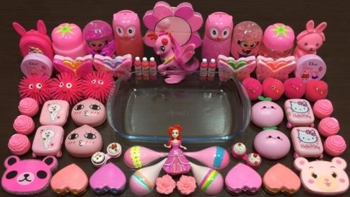 粉色史莱姆教程,粉色米粒泥+亮片果冻泥+蝴蝶珍珠,好玩不粘手
