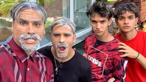 一觉醒来大哥二哥变成百岁老人,双胞胎兄弟一脸懵逼,场面一度尴尬