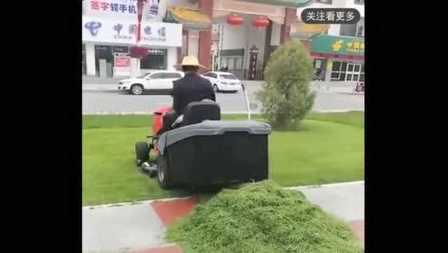 草坪修剪神器!环卫工人省劲多了