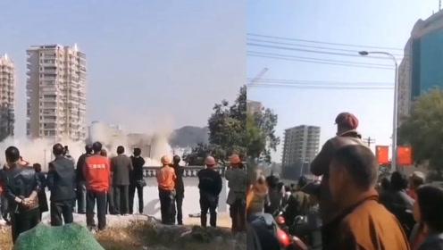 """实拍爆破瞬间!江西一大楼爆破坍塌变粉尘,数百群众""""驻守围观"""""""