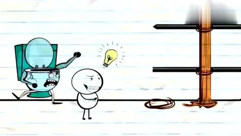 创意搞笑简笔动画,铅笔小人和马桶较劲