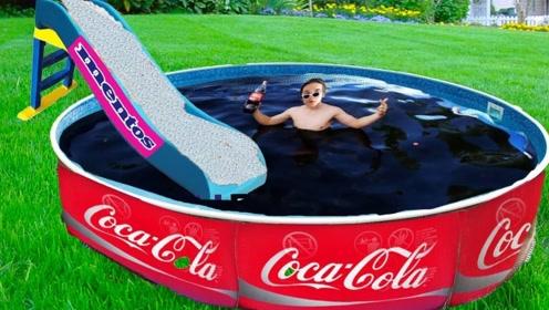 奇葩脑洞试验,老外准备泳池装满可乐,下一秒倒进一车曼妥思
