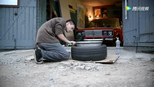汽车轮胎被徒弟这样玩,如果被师傅知道了,少不了一顿揍