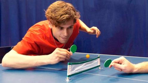 """乒乓球被老外玩坏了,挑战""""迷你""""乒乓球,网友:这打法有点萌"""