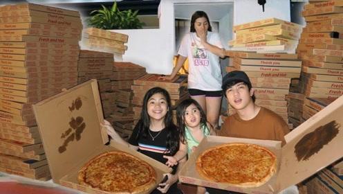 兄妹俩给妈妈点了200份披萨,老妈什么反应?这是被整习惯了吗