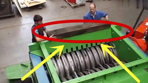 老板新买的大型粉碎机,铁块都分分钟搞定,钱花的真值!