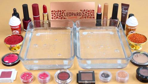 手工史莱姆教程,多种化妆粉混搭+双盆透明水晶泥,手感不错呢,超漂亮